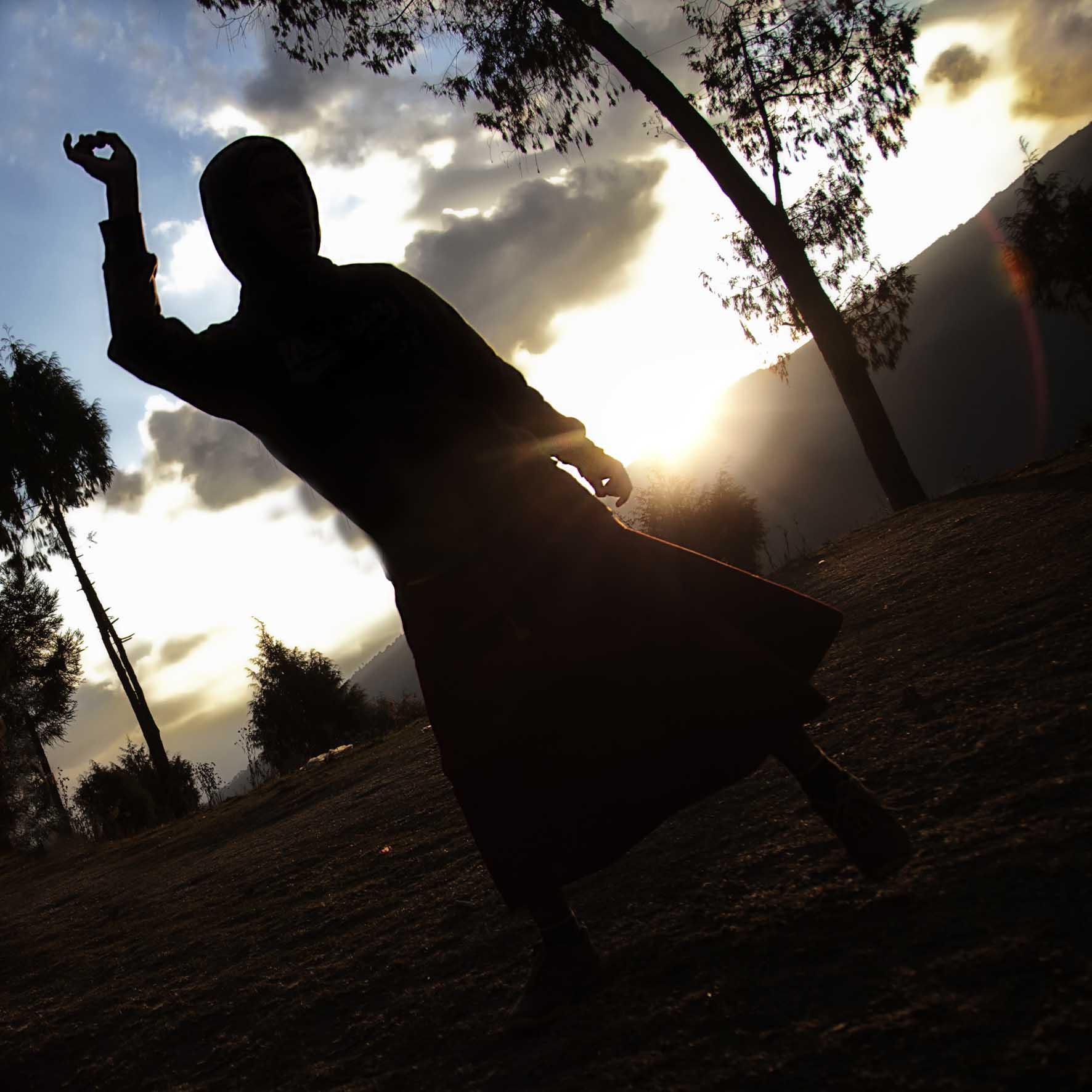 Dancing Monks in Silhouette