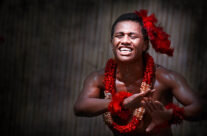 Polynesians in traditional dresses